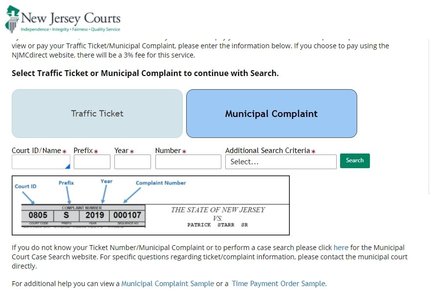 Find NJ Traffic Ticket