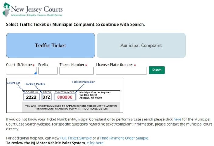 NJ Traffic Ticket details
