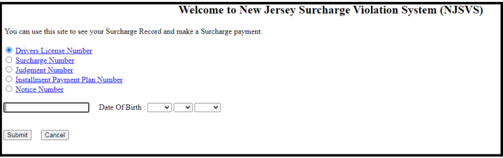 Welcome to New Jersey Surcharge Violation System (NJSVS)